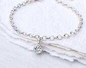White Topaz Charm Bracelet, April Birthstone, Sterling Silver, Handmade in the UK
