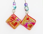 Sand Etched Dichroic Glass Dangle, Hearts and Swirls