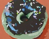 Donut Enter Acrylic Painting 24x24 Colorful Modern Foodie Sprinkle Donut