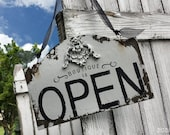 Open & Closed BUSINESS SIGN, Double Sided Sign, Door Hanger SIgn, Vintage Business Sign