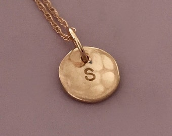 Hammered Initial Necklace in 14k Rose Gold  - Custom Stamped Personalized Hammered Disc Charm - 5/16""