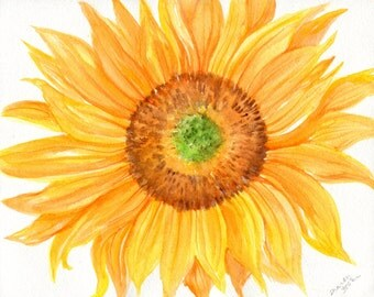 Sunflower watercolor painting, Sunflower painting, watercolor painting, sunflower decor, original watercolor painting, sunflower art 8 x 10