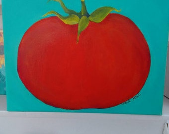 Tomato painting // kitchen art // tomato wall decor // 9 x 12 culinary painting// red tomato acrylic painting canvas art// canvas painting