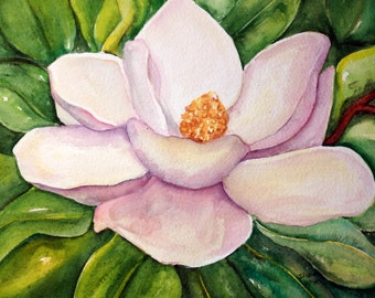 Magnolia watercolor painting original 10 x 12 Flower Wall Art, magnolia artwork, decor, magnolia watercolor flowers