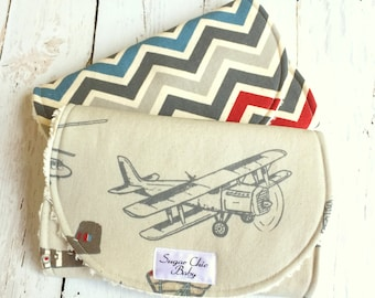 Baby Boy Burp Cloths - Airplanes Burp Cloth - Set of 2 - Super Absorbent Triple Layer Chenille  -  Vintage Airplanes in Pewter, Red & Blue
