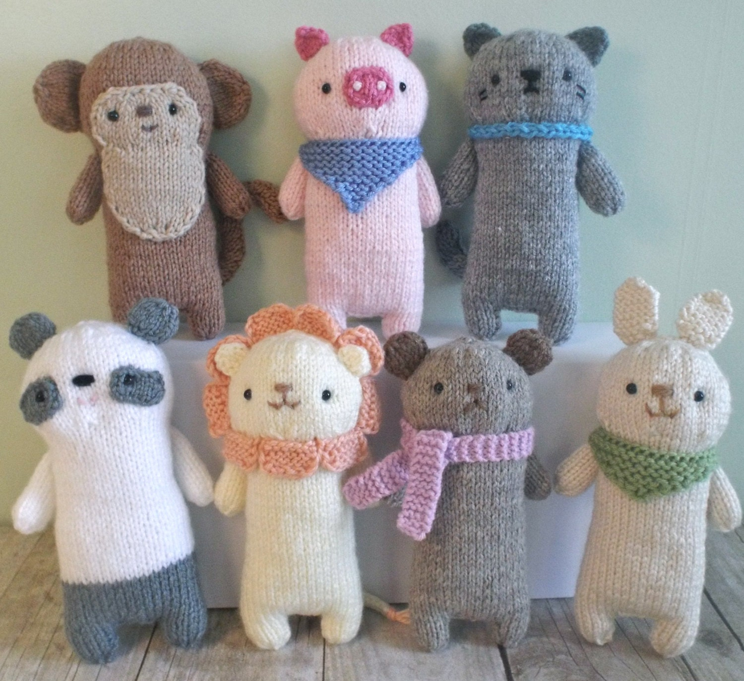 Amigurumi Knitted Animals : Amigurumi Knit Baby Animals Pattern Set Digital Download