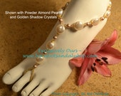 Swarovski Crystal and Pearl and Freshwater Coin Pearl Beach Wedding Barefoot Sandals