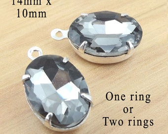 Black Diamond Glass Beads, Silver Plated Brass Settings, 14mm x 10mm, Oval, One or Two Rings, Glass Gems, Gray, Rhinestones, One Pair