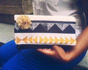 Leather Clutch, Fold Over Clutch, Zippered Clutch, Clutch Purse, Foldover Clutch Bag, Leather Purse, Blue Evening Bag
