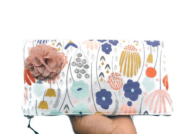 Ivory Meadow Leather Fold Over Clutch Bag, Floral Leather Clutch Bag, Flower Clutch Purse, Zipper Pouch, 144 Collection