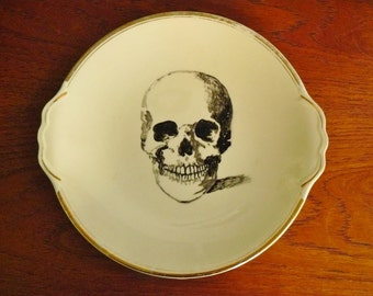 Skull hand painted vintage china dinner sized cake plate with side handles recycled art display