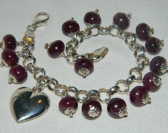 Genuine Ruby Bracelet Sterling Silver Heart Charm Bracelet Natural Ruby Bracelet Gemstone Bracelet