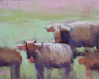 Plein Air Landscape from FRANCE Cows Original Pastel Painting 5x7