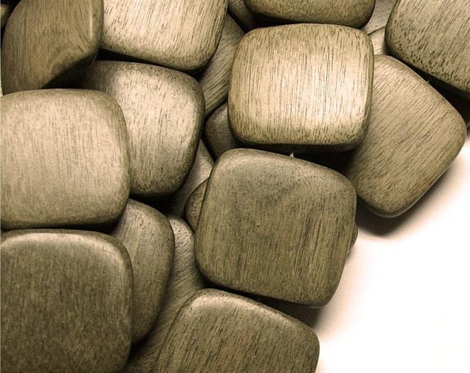 WDSQ-25GR - (Three) Wood Bead, Flat Square 25mm, Graywood - 16 Inch Strands