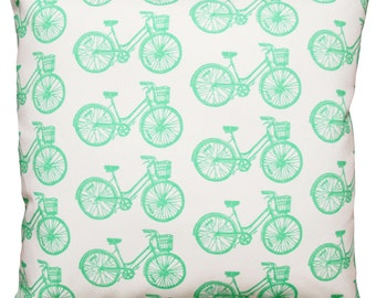 16x16 mint bike pillow