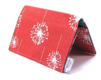 Mini Wallet / Card Holder / Business Card Holder / Card Case / Gift Card Holder/ Small Wallet - Coral Dandi Fabric