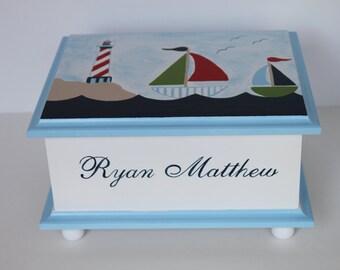 Baby Keepsake Box Memory Box lighthouse & sailboats baby gift hand painted