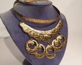 Reserved for daphnetrakis - Vintage Brutalist Choker Necklace & Earrings Set Pericles Haiti