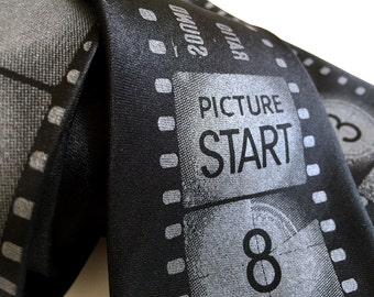Movie Necktie. Academy Film Leader tie. Movie Film Strip black silk tie. Theater, director, producer, film student, actor gift.
