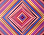 Concentric Diamond Shape Striped Artwork ORIGINAL Painting 18x24 Abstract Acrylic Art On Canvas Magenta Blue Orange Wall Decor