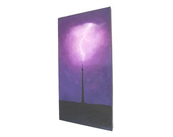 Lightning Strikes Emley Moor Tower original painting - acrylic art of a stormy purple sky with a lightning fork hitting a TV mast (UK only)