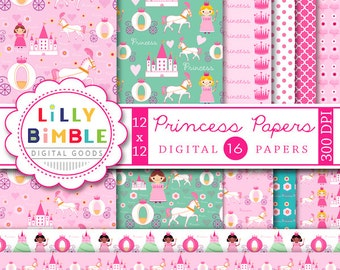 40% off Princess digital scrapbook papers with castle, kingdom, horse carriage, cute patterned papers for birthday parties Digital Download