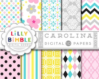 80% off Floral Digital Paper in pastel color, pink, yellow, gray, blue, polka dots, chevron, damask, scrapbooking papers, pack, Instant