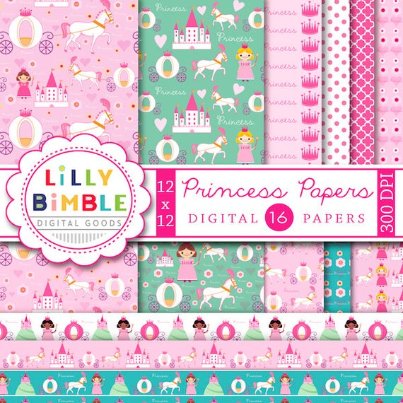 Princess digital scrapbook papers with castle, kingdom, horse carriage, cute patterned papers for birthday parties Digital Download