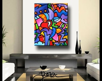Just Some Stuff - Original Abstract painting Modern pop Art large Woman Canvas Print by Fidostudio