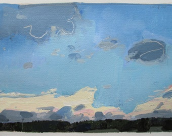Lone, Original August Sky Landscape Painting on Paper, Stooshinoff