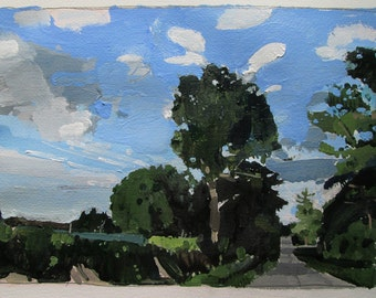 August 23, 7:30 p.m., Original Sky Landscape Painting on Paper, Stooshinoff