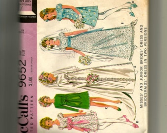 McCalls' Misses' and Junior Brides' Dress and Bridesmaids' Dress In Two Versions Pattern 9652