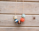 Hand Painted Wooden Bead Necklace in Autumn Lakes,  Anna Joyce, Portland, OR.