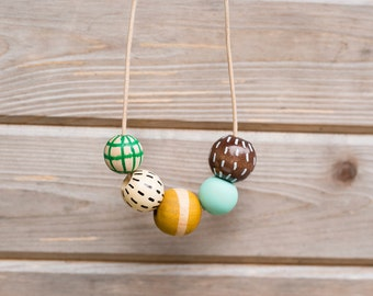 SHIPS TODAY Hand Painted Wooden Bead Necklace in Rosemary & Thyme,  Anna Joyce, Portland, OR.