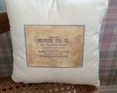 Decorative pillow tea label vintage woman tea lovers
