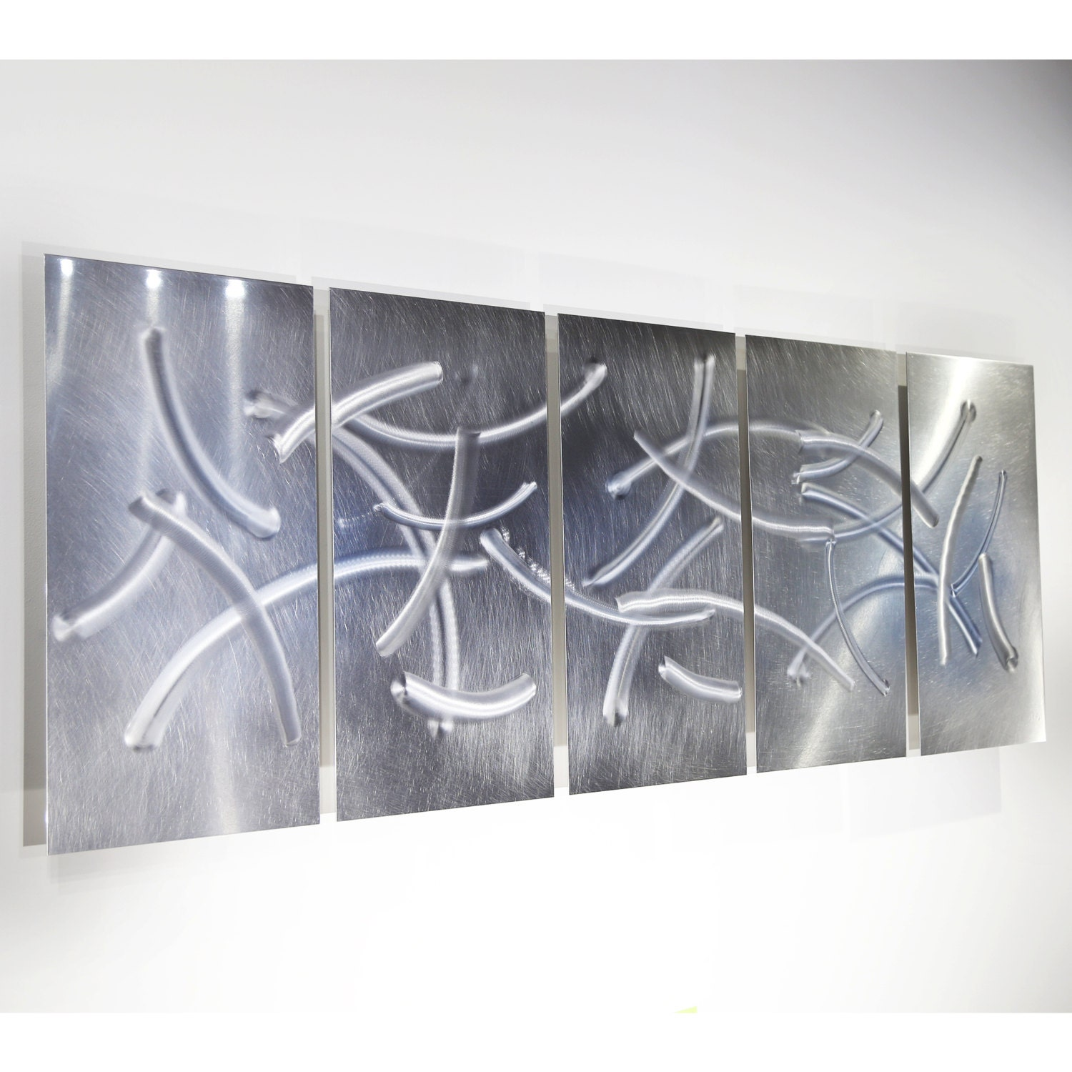 Metal Wall Decor Etsy : Silver etched modern metal wall art by jonallenmetalart on
