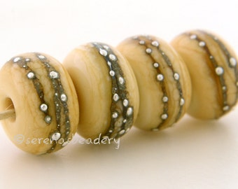 4 DARK IVORY with Fine Silver Dots - Handmade Lampwork Glass Beads - taneres