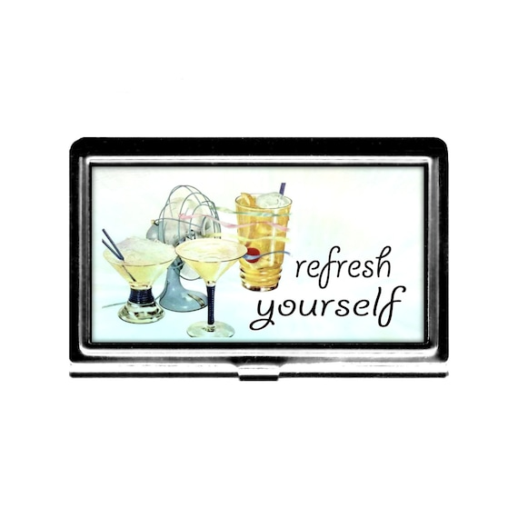 Refresh yourself business card case vintage imagne fan cool for Cool business card case