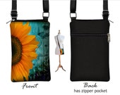 Cell Phone Case for iPhone 6 Plus, 5, 4, Smartphone Phone Purse, Small Cross Body Bag, Sunflower Floral, blue, yellow, black MTO