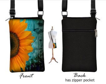 Iphone 7  Case. iPhone 7 Plus Case Crossbody Cell Phone Purse Smartphone Case Cross Body Bag, Sunflower Floral, blue, yellow, black MTO