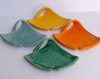 Cramic Ginkgo Leaf  Plates, Set of Four