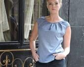 Light blue women's cotton top