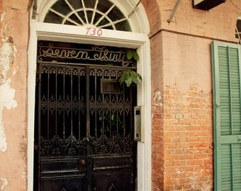 new orleans art, french quarter, new orleans photography, orange decor, architecture building art, Seven Thirty no 3