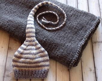 Newborn Crib Blanket Hat BaBY PHoTO PRoP Grey Ivory Stripe Stocking Cap Grey Stroller Blanket PiCK Blanket Size CHooSE CoLOR Coming Home Set