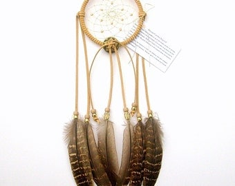 Beige Dream Catcher, Hen Pheasant Feathers