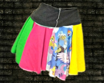 Womens Kawaii Skirt . Lg/XL . from MLP shirt . Cute Girly Clothing . Recycled wear . Upcycled . Twirl . Pink . Purple . Yellow . Blue .