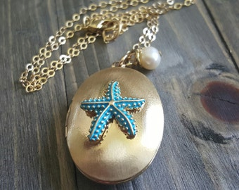 Gold Patina Star Fish Locket and Freshwater Pearl