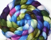 Hand dyed 60/40 Polwarth/Silk blend Combed Top--6.2 oz --