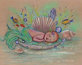 Baby mermaid in a sea shell print  by Renee L. Lavoie