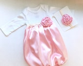 BOUTIQUE CHEVRON satin Infant GOWN... baby layette... Soft pink satin with gold and pink accents